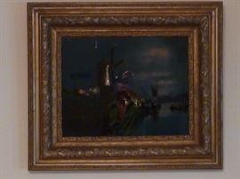Victorian Reverse Painting on Glass- Windmill Scene