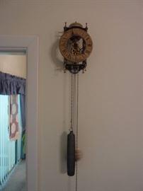 Working Hanging Clock- Pendulum & Weight- German repro.- Good Quality