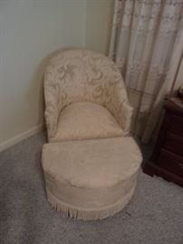 Ivory Boudoir Chair with Fringed Half Moon Footstool