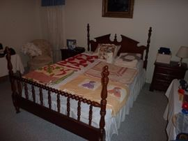 Chippendale Style Queen Bed, Antique/Vintage Handmade Quilts