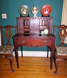 Antique writing desk, Portrait plates & Urn