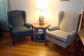 Wingback chaoirs and stand.