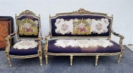 Great antique French needle point chair and settee in super condition.