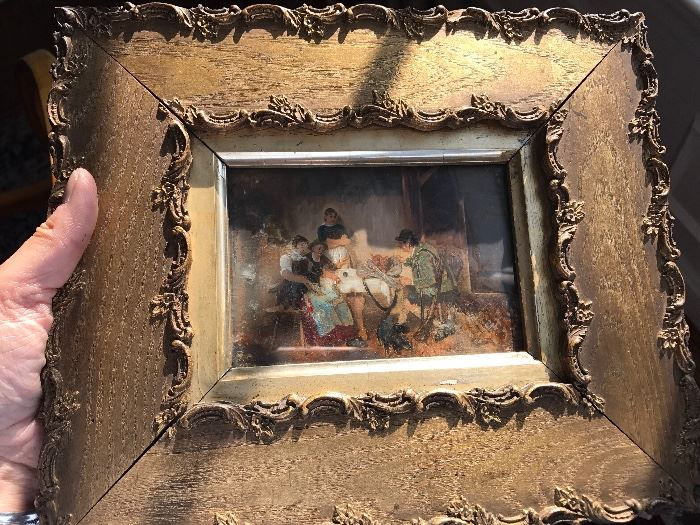 Antique paintings, gold gilt frame.