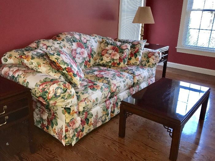Drexel upholstered, floral sofa with Drexel coffee table and two side tables