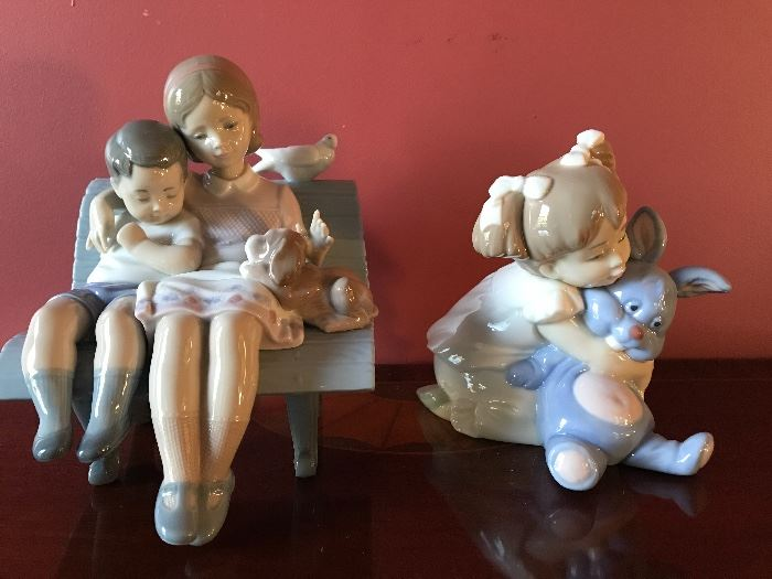 "Lladro, rare no. 6446 ""Surrounded by Love"" and NAO Lladro Pretty Girl Hugging a Bunny"