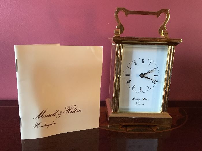 Boxed Morrell and Hilton Brass and Glass Carriage Clock