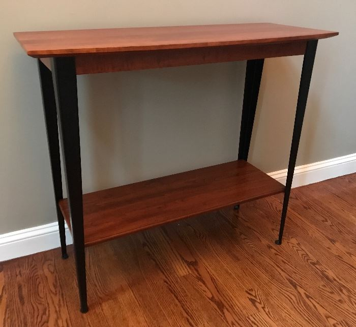 Elegant cherry and metal console table