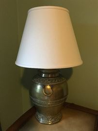 Antique Indian brass vase converted to lamp