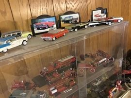 Die cast model cars and fire trucks and collectors case