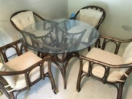 Midcentury Bamboo table and 4 chairs