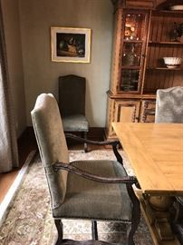 Custom upholstered chairs - 6 dining originally $2200 each and 2 head chairs originally $2600 each.  Asking $2200 for all 8 chairs.