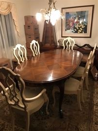 Lovely Dining table & chairs with pair of pyramid cabinets