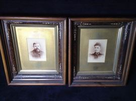 Framed antique photos of couple