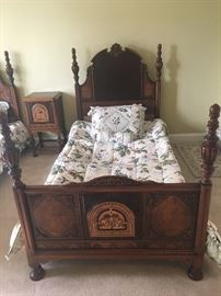 WOOD INLAY TWIN BEDS, NIGHT STAND VANITY AND CHEST OF DRAWERS