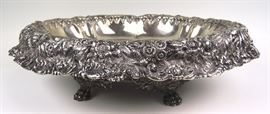 Very Large& Heavy Tiffany & Co. Sterling reposse footed bowl