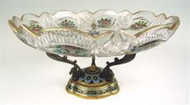 Beautiful Cut Glass & Champleve Centerpiece bowl
