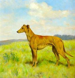 """Arthur Wardle Dog """"Greyhound"""" Painting"""
