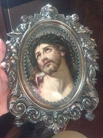 Portrait of Jesus in sterling