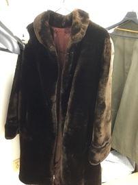 Mouton mid-length fur coat