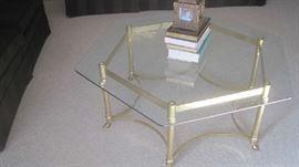 Hexagon glass / brass  coffee table