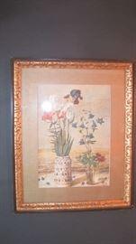 Framed floral picture