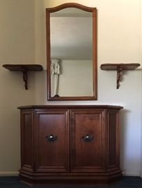 Vintage Ethan Allen 2 Door Console and Matching Mirror, Pair Wall Shelves