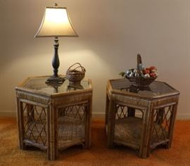 MFM003 Matching Bamboo Rattan End Tables