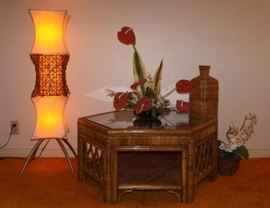 MFM008 Bamboo Rattan End Table and Décor Items