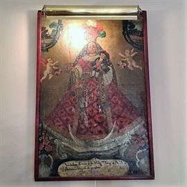 "Early 19th c Spanish Oil On Tin. 23""H x 22""W x 5""D"