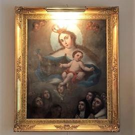 """Spanish Madonna Oil ca. 1800 """"Mt. Carmel"""".  48""""H x 40""""W"""