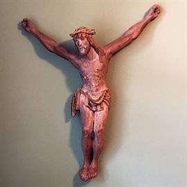 """17th c. French Oak Carved Crucifix sans cross- 3ft. (carved for Paris monastery). 36""""H x 28""""W x 6""""D"""