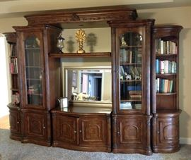 5- Piece Sectional Wall Entertainment/Curio Cabinet/  Bookcase Collection. Put all sections together as a group and you have a complete wall unit, or separate and place individual or double pieces together for a totally different look.