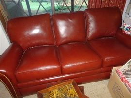 Hancock & Moore Chocolate Leather Sofa with Nail Heads