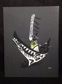 Silkscreen By Germaine Mauriaucourt Tlingit Canoe
