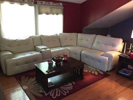American Signature leather power reclining sectional sofa