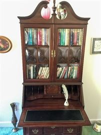 Jasper Cabinet Co secretary and hutch with bubble glass doors