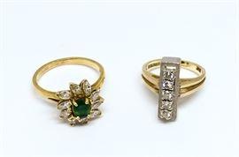 18k Emerald Diamond cocktail ring / 14k Yellow and White Gold 5 Diamond Bar ring