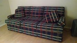Plaid sofa bed