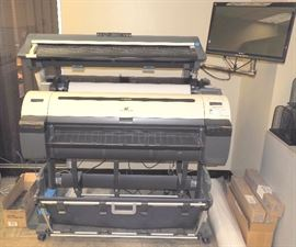 """Canon ImagePROGRAF 36"""" Large Format Printer, Model IPF765, With Flat Stacker Basket, 2 Print Heads, Maximum 2400 x 1200 Dpi, Cut Sheet Or Roll Feed, Includes Toner, Roll Of Paper, And 22"""" Viewsonic Monitor, Model VX2258"""