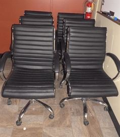 Chrome Frame Rolling Office Chairs, Qty 6