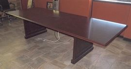 """Executive Conference Table With Outlet And Port Bank, Surge Protector On Bottom, 30""""H x 120""""W x 48""""D"""