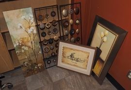 "Metal Mirror Wall Art, 35""H x 12""W, Qty 2, Trailsend Framed Artwork, 17""H x 21""W, Framed Floral Print, 31""H x 19.25""W, And Canvas Flora Print, 36""H x 12""W, Total Qty 5"