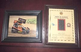 Showme Heroes Flag Of Freedom Award, Framed, And Autographed Raney Racing Outlaw Car Photo