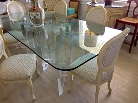 Jeffrey Bigelow lucite and glass dining room table