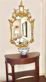 Baker demilune console and antique guilded mirror