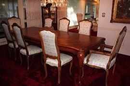 Parquet Dining Room Table with Eight Chairs