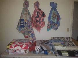 Several handmade quilts