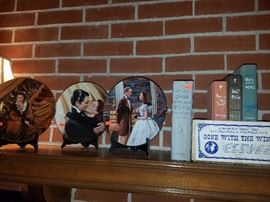 Gone with the Wind GWTW first edition book, collectible brick, decorative plates