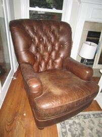 Pottery barn tufted back leather club chair-looks better in person!